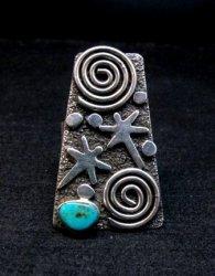 Navajo Alex Sanchez Petroglyph Turquoise Silver Ring sz8-1/2