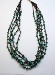 Native American Shell Heishi and Turquoise Necklace Angela Coriz