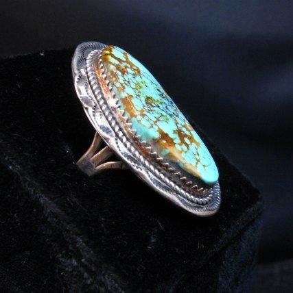 Image 1 of Navajo Native American Turquoise Ring sz9, LaRose Ganadonegro