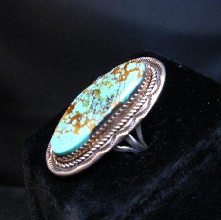 Image 2 of Navajo Native American Turquoise Ring sz9, LaRose Ganadonegro