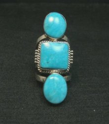 Native American Navajo 3-Stone Turquoise Silver Ring sz4-1/2