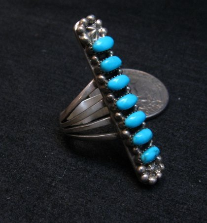 Image 2 of Native American Navajo 7-Stone Turquoise Silver Ring sz5