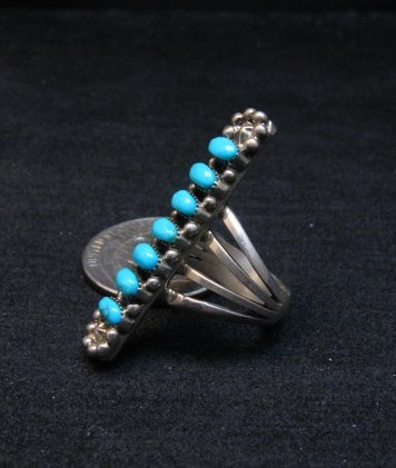 Image 3 of Native American Navajo 7-Stone Turquoise Silver Ring sz5