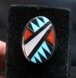 Large Zuni Multi Stone Inlay Ring, Elcario and Cleo Kallestewa, sz10