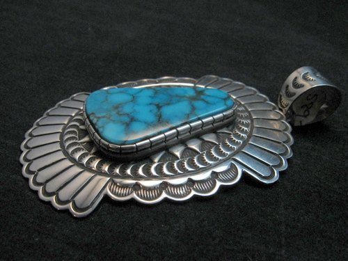 Image 2 of Huge Delbert Delgarito Special Kingman Turquoise Pendant