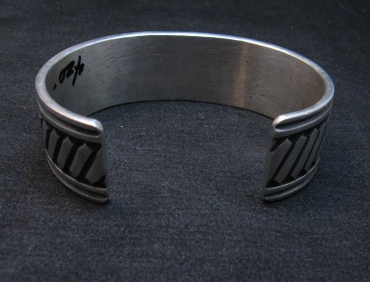 Image 3 of Heavy Native American Navajo ~ Albert Jake ~ Sterling Silver Bracelet ~ Large