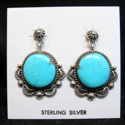 Image 0 of Navajo American Navajo Turquoise Silver Earrings - Emma Linkin