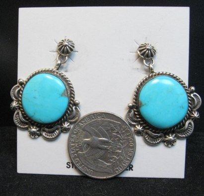 Image 1 of Navajo American Navajo Turquoise Silver Earrings - Emma Linkin