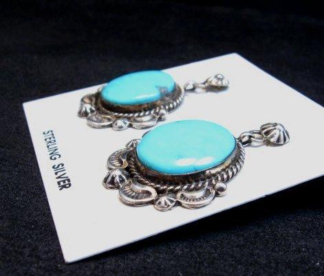 Image 2 of Navajo American Navajo Turquoise Silver Earrings - Emma Linkin