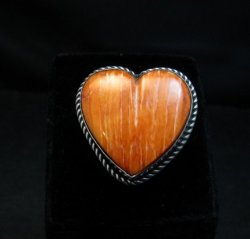 Big Navajo Spiny Oyster Heart Ring sz7-1/2, Linda Yazzie
