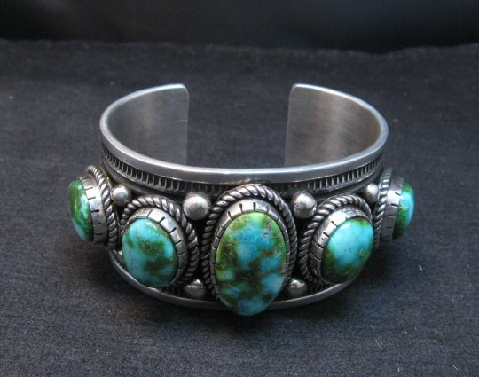 Image 9 of Superb Albert Jake Navajo Sonoran Gold Turquoise Silver Cuff Bracelet