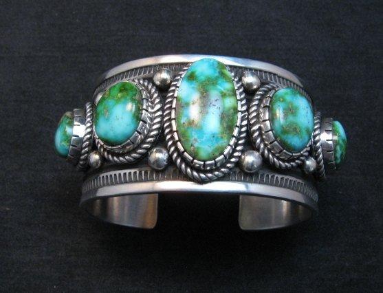 Image 1 of Superb Albert Jake Navajo Sonoran Gold Turquoise Silver Cuff Bracelet