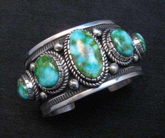 Image 0 of Superb Albert Jake Navajo Sonoran Gold Turquoise Silver Cuff Bracelet