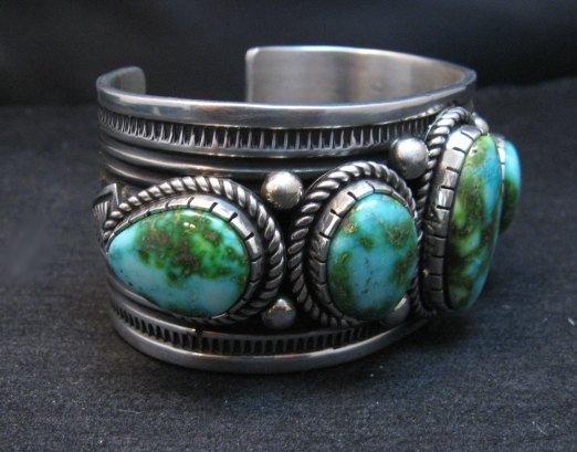 Image 2 of Superb Albert Jake Navajo Sonoran Gold Turquoise Silver Cuff Bracelet