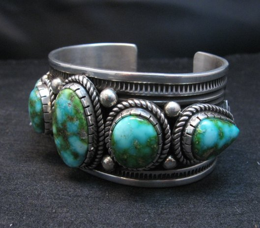 Image 3 of Superb Albert Jake Navajo Sonoran Gold Turquoise Silver Cuff Bracelet
