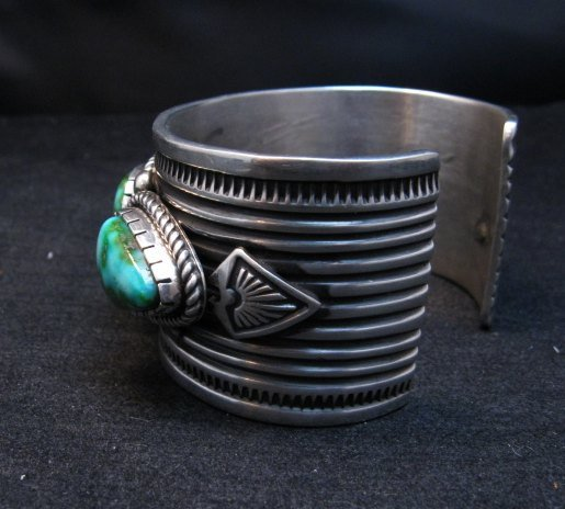 Image 4 of Superb Albert Jake Navajo Sonoran Gold Turquoise Silver Cuff Bracelet