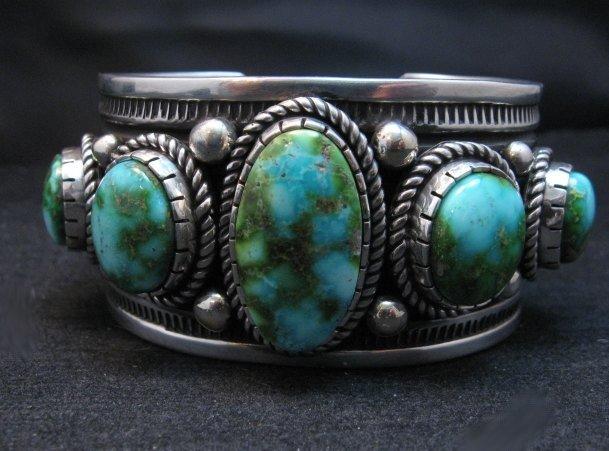 Image 6 of Superb Albert Jake Navajo Sonoran Gold Turquoise Silver Cuff Bracelet