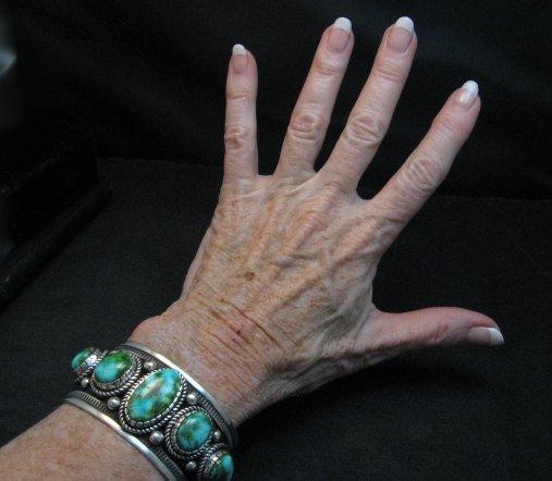 Image 7 of Superb Albert Jake Navajo Sonoran Gold Turquoise Silver Cuff Bracelet