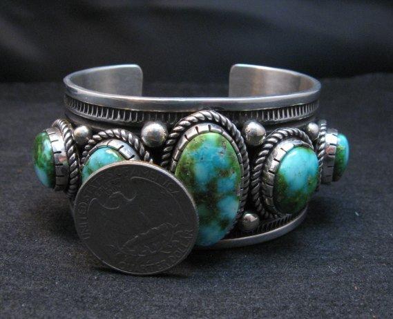 Image 8 of Superb Albert Jake Navajo Sonoran Gold Turquoise Silver Cuff Bracelet