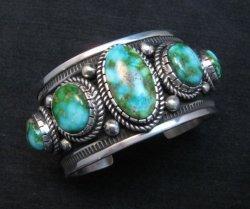 Superb Albert Jake Navajo Sonoran Gold Turquoise Silver Cuff Bracelet