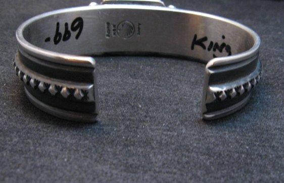 Image 3 of Albert Jake Navajo Kingman Turquoise Silver Cuff Bracelet