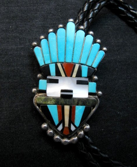 Image 0 of Sybil Cachini Zuni Kachina MOP Turquoise Coral Jet Inlay Bolo