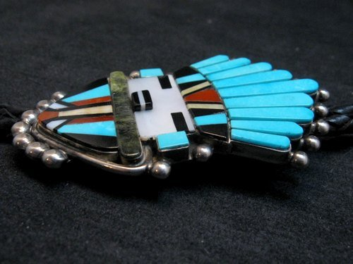 Image 1 of Sybil Cachini Zuni Kachina MOP Turquoise Coral Jet Inlay Bolo