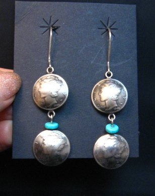 Image 4 of James Mccabe Navajo Old Coin Mercury Dime Earrings