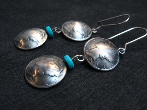 Image 1 of James Mccabe Navajo Old Coin Mercury Dime Earrings