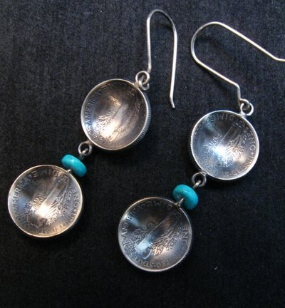 Image 2 of James Mccabe Navajo Old Coin Mercury Dime Earrings