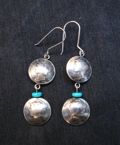 Image 3 of James Mccabe Navajo Old Coin Mercury Dime Earrings