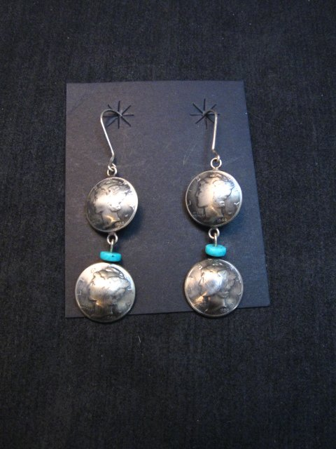Image 0 of James Mccabe Navajo Old Coin Mercury Dime Earrings