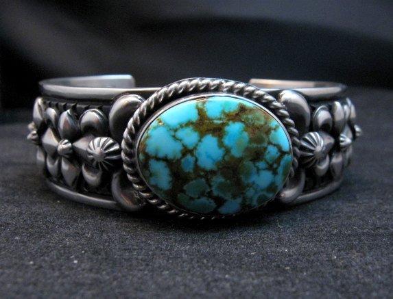 Image 1 of Darryl Becenti Navajo Kingman Turquoise Silver Bracelet