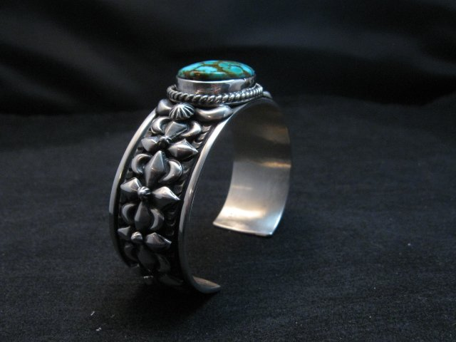 Image 2 of Darryl Becenti Navajo Kingman Turquoise Silver Bracelet