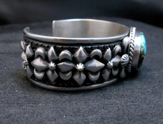 Image 3 of Darryl Becenti Navajo Kingman Turquoise Silver Bracelet