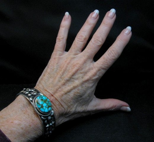 Image 6 of Darryl Becenti Navajo Kingman Turquoise Silver Bracelet