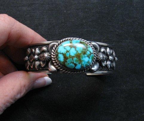 Image 7 of Darryl Becenti Navajo Kingman Turquoise Silver Bracelet