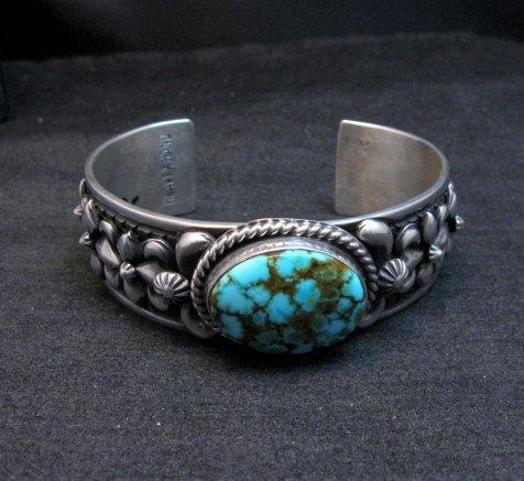 Image 8 of Darryl Becenti Navajo Kingman Turquoise Silver Bracelet