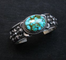 Darryl Becenti Navajo Kingman Turquoise Silver Bracelet