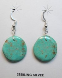 Santo Domingo Kewa Kingman Turquoise Disk Dangle Earrings, Joanne Garcia
