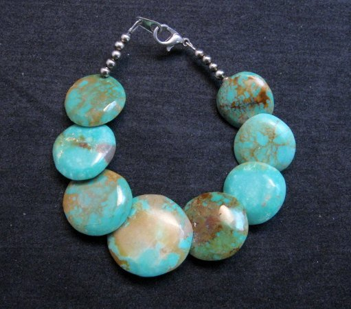 Image 0 of Santo Domingo Kewa Turquoise Disk Bracelet, Joanne Garcia