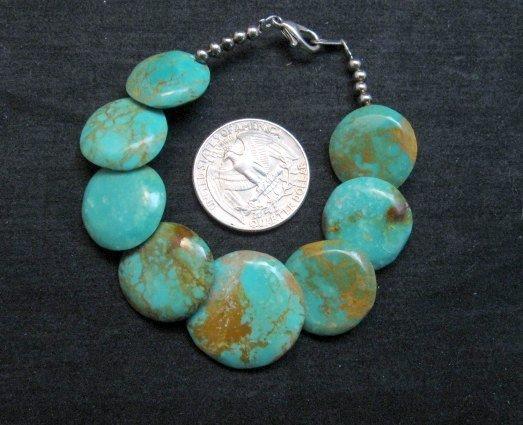 Image 1 of Santo Domingo Kewa Turquoise Disk Bracelet, Joanne Garcia