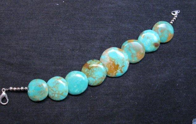 Image 2 of Santo Domingo Kewa Turquoise Disk Bracelet, Joanne Garcia