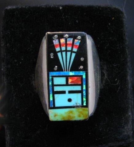 Image 0 of Navajo Yei Kachina Starry Nite Inlay Ring sz11, Sammy Smith