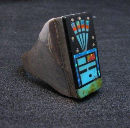 Image 1 of Navajo Yei Kachina Starry Nite Inlay Ring sz11, Sammy Smith