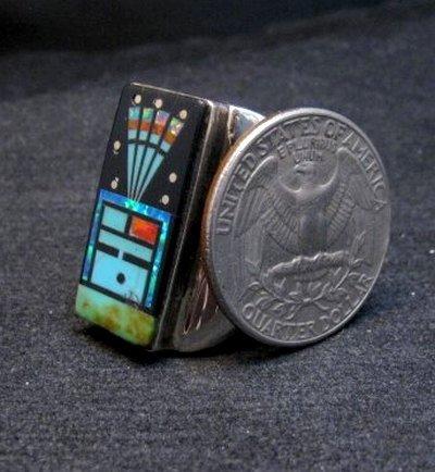 Image 2 of Navajo Yei Kachina Starry Nite Inlay Ring sz11, Sammy Smith