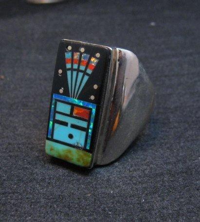 Image 4 of Navajo Yei Kachina Starry Nite Inlay Ring sz11, Sammy Smith