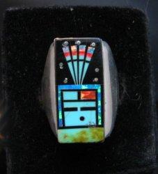 Navajo Yei Kachina Starry Nite Inlay Ring sz11, Sammy Smith