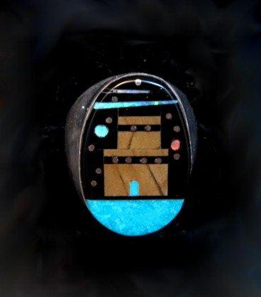 Image 0 of Navajo Pueblo Starry Nite Inlay Ring sz11, Sammy Smith