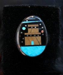 Navajo Pueblo Starry Nite Inlay Ring sz11, Sammy Smith